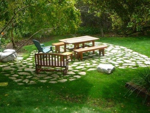 Flagstone and grass patio in 2019 | Concrete patio, Broken ... on Backyard Ideas Concrete And Grass id=63713