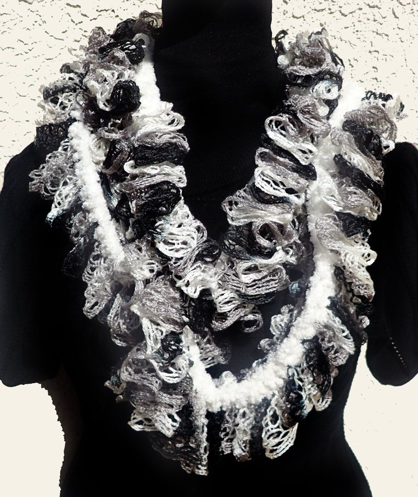 Infinity Scarf - Crocheted Sashay Yarn - White/Gray/Black with Cream ...