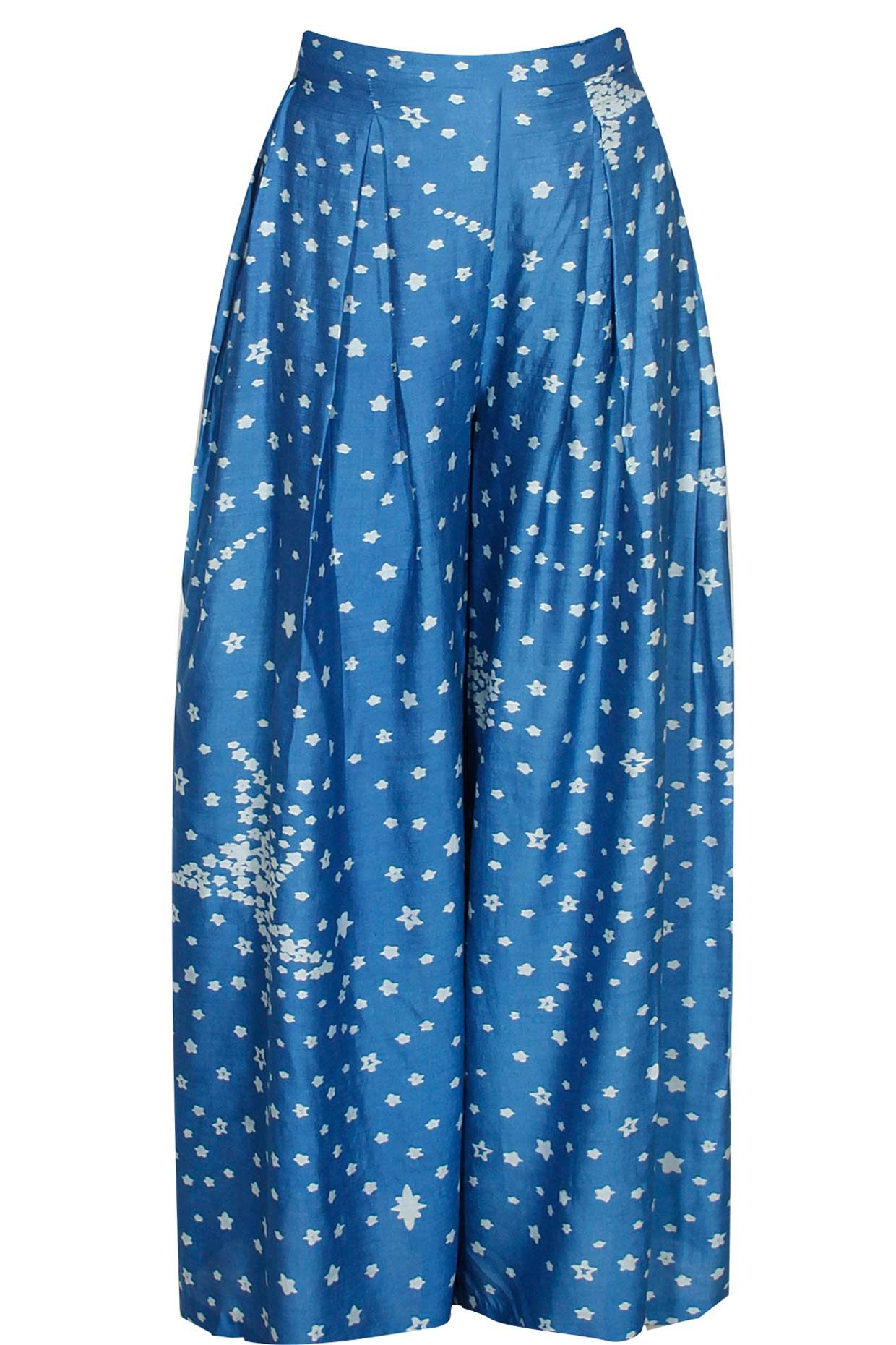 Blue star print pleated palazzos available only at Pernia's Pop-Up Shop.