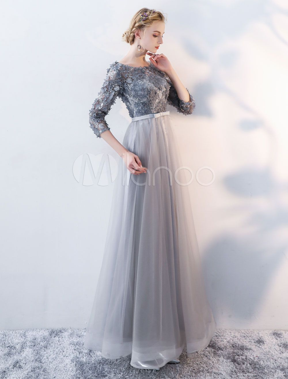 Prom Dresses Long Grey Lace Flowers 3 4 Sleeves Tulle Open Back Bow Sash Floor Length Formal Dress Prom Dresses Long Pleated Wedding Dresses Drop Waist Wedding Dress [ 1316 x 1000 Pixel ]