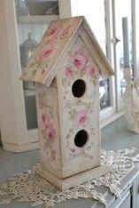 Shabby Romantic Roses Vintage Style Birdhouse