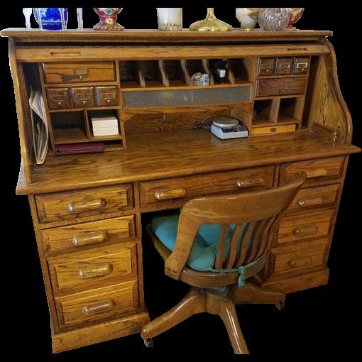 Solid Oak Roll Top Bankers Desk Office Study Student Business With Lights And Locks Www Rubylane Com Vint Oak Tv Stand Roll Top Desk Vintage Desk