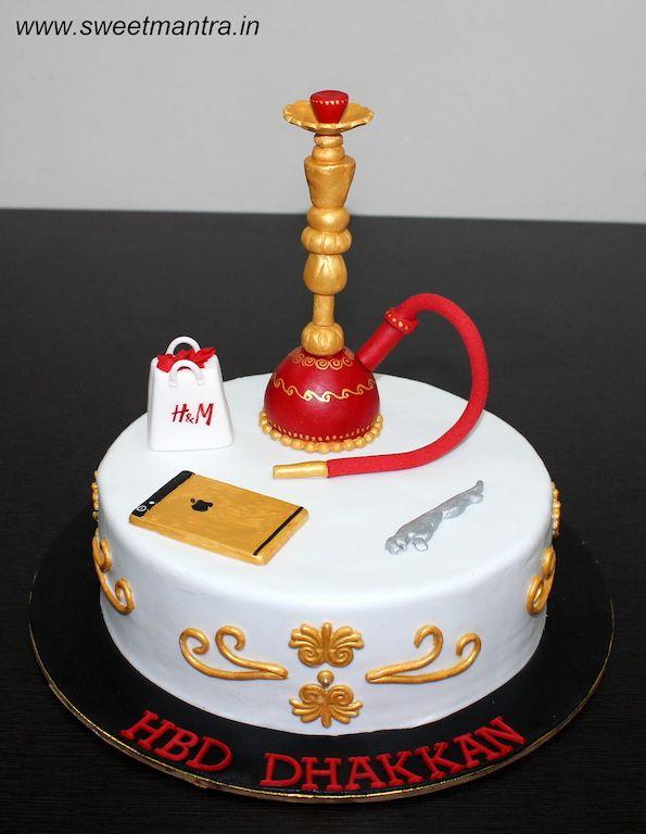Hookah Theme Customized Designer Fondant Cake With 3D HM Shopping Bag IPhone