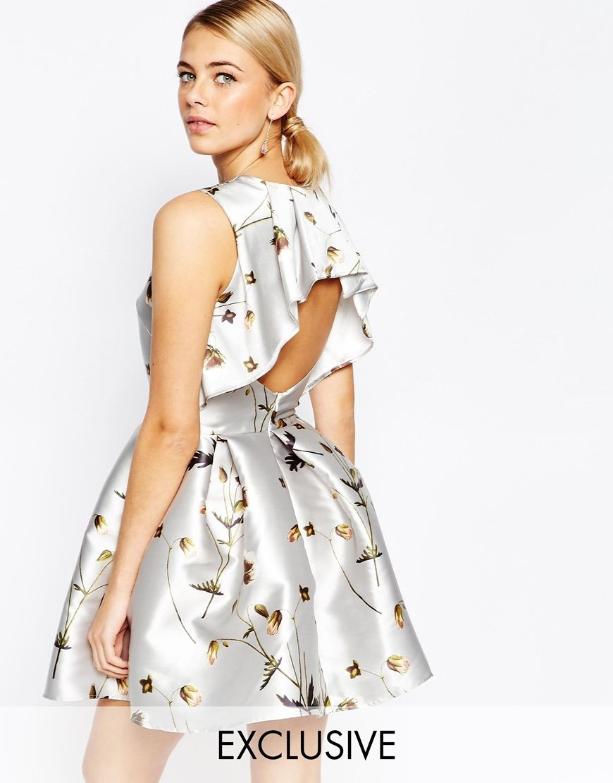Hope and ivy mini dress in sateen floral print with frill back