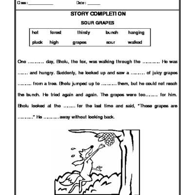 Worksheet Of Story Completion (Sour Grapes)-Story Writing-Writing-English  English Writing Skills, Story Writing, English Writing