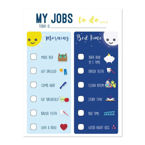 printable chore chart for kids to do list morning routine routine