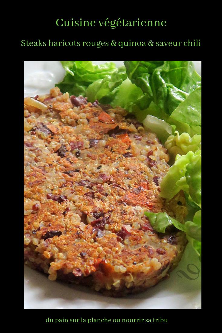 Steaks végétariens, haricots rouges & quinoa