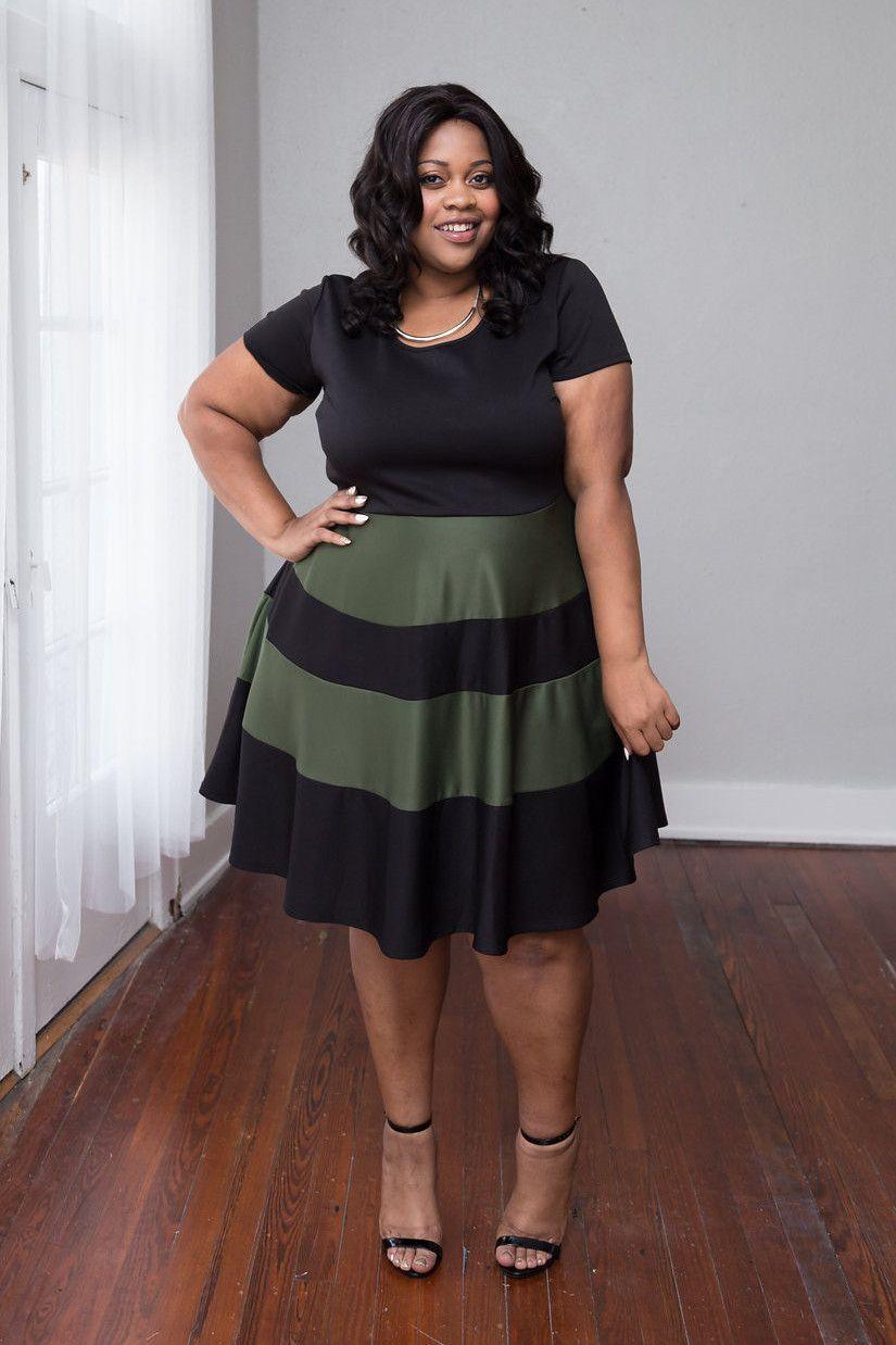 73e7f05cdac Plus Size Clothing for Women - Taryn Stripe Skater Dress - Black Olive -  Society+ - Society Plus - Buy Online Now! - 1