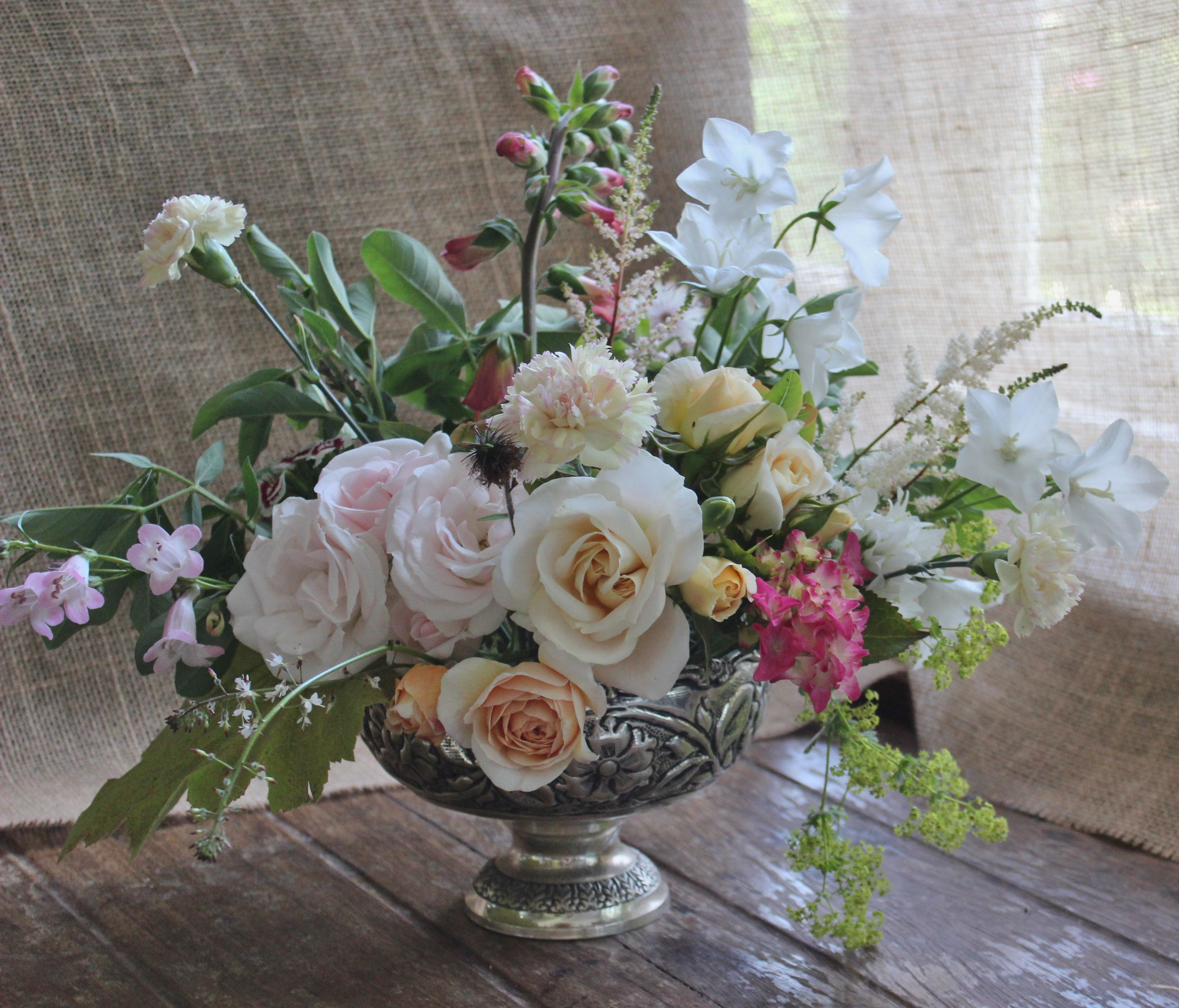 Lock Cottage Flowers Surrey UK June Garden Arrangement In Footed Bowl