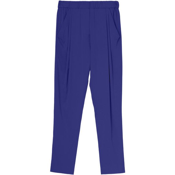 3.1 PHILLIP LIM Draped Pocket Trouser (610 PEN) ❤ liked on Polyvore featuring pants, elastic waist pants, elastic waistband pants, stretch waist pants, blue pants and 3.1 phillip lim pants