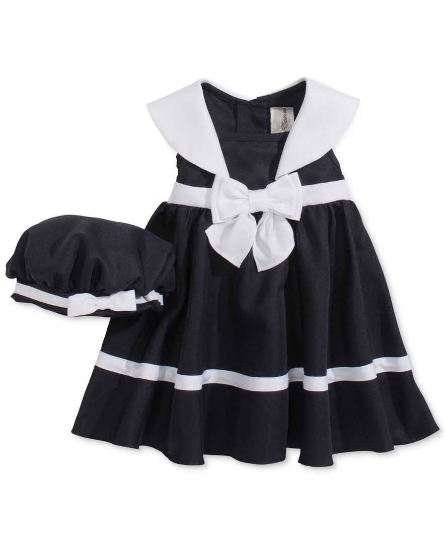 Rare editions baby girlsu piece sleeveless sailor dress u hat set