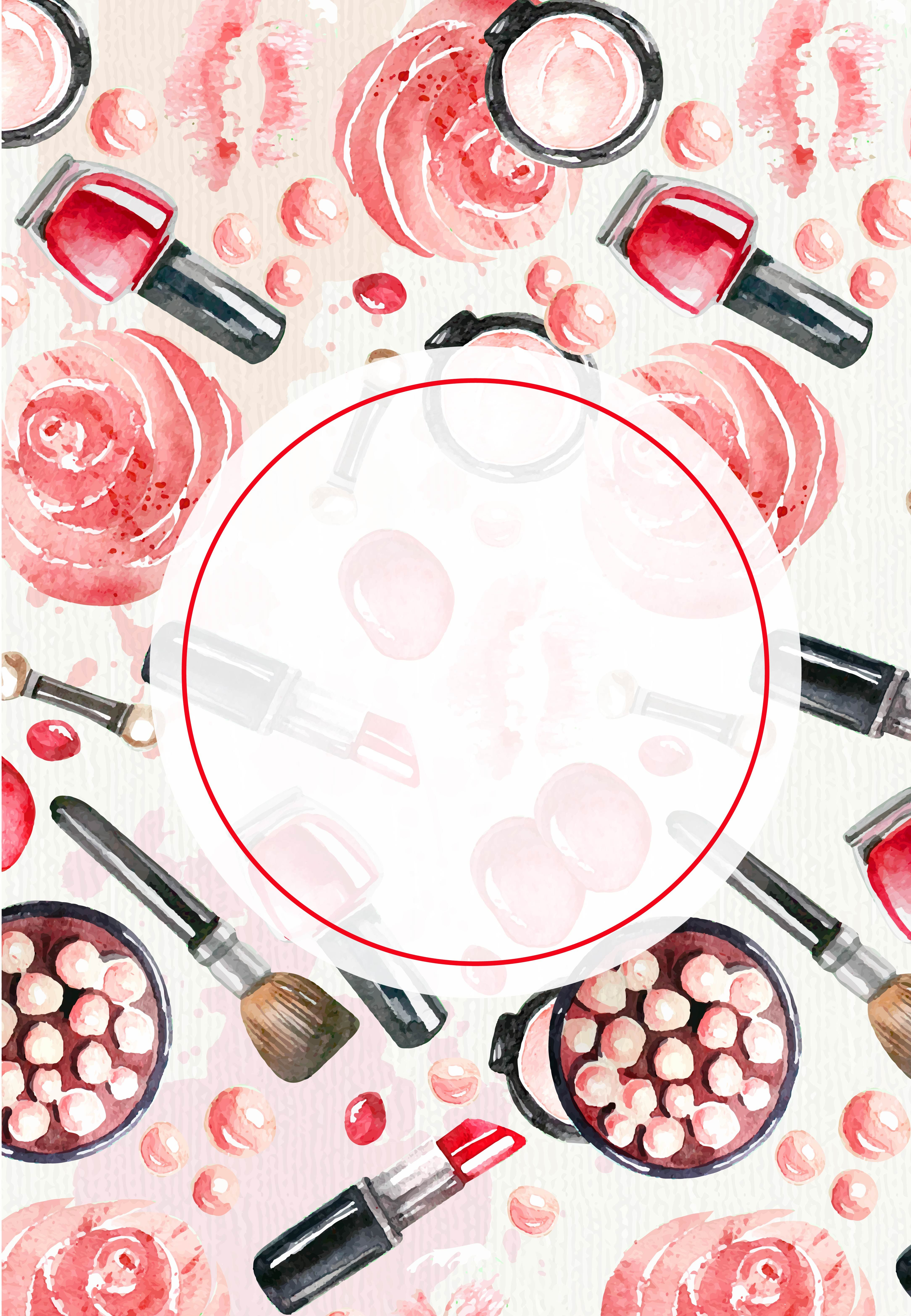 Beauty Cosmetics Vector Watercolor Painted Background in