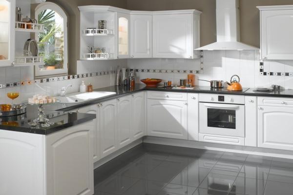 nice Idée relooking cuisine - armoire de cuisine blanche moderne - idee deco maison moderne