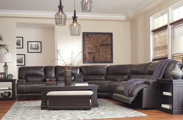 Mccaskill Oversized Leather Power Sectional Reclining Sectional