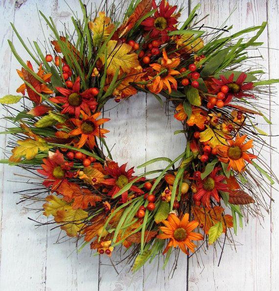Thanksgiving Wreath Fall Floral & Berry Wreath by Designawreath