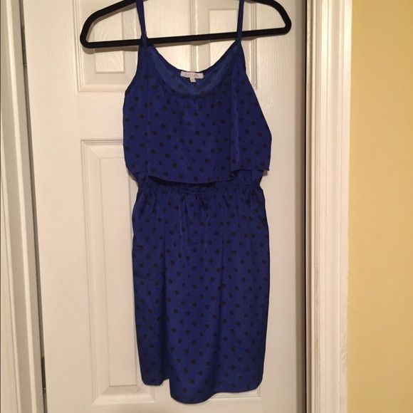 Blue dress with black polka dots Blue dress with black polka dots. Worn once Dresses