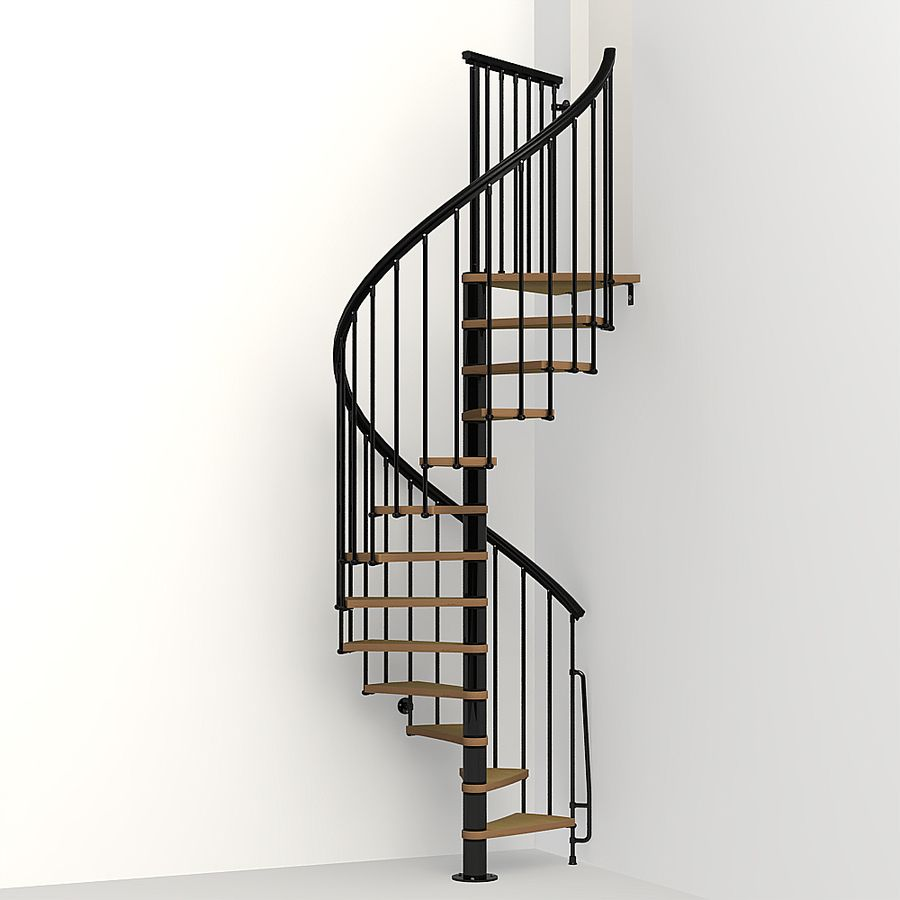 Best Arke Nice1 51 In X 10 Ft Black Spiral Staircase Kit With 640 x 480