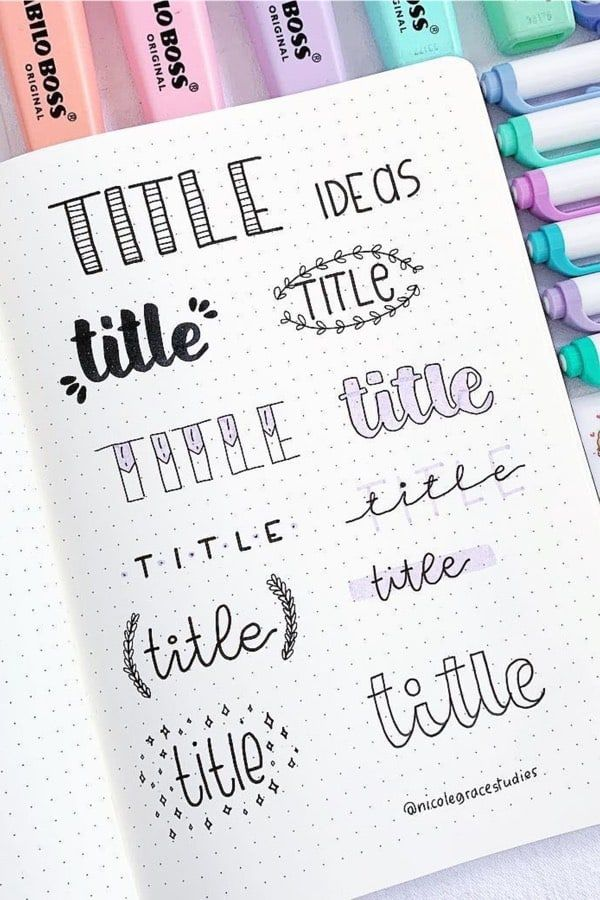 15+ Best Purple Bullet Journal Headers & Titles For 2020 - Crazy Laura