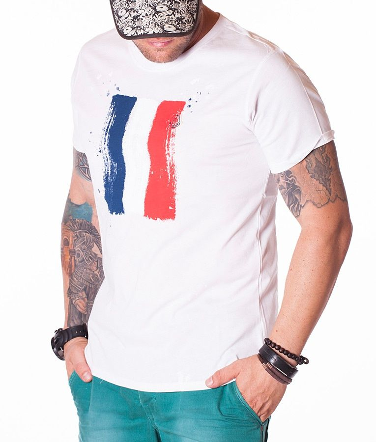 Moncler Crew Neck T-shirts - Flag Print T-Shirt - White