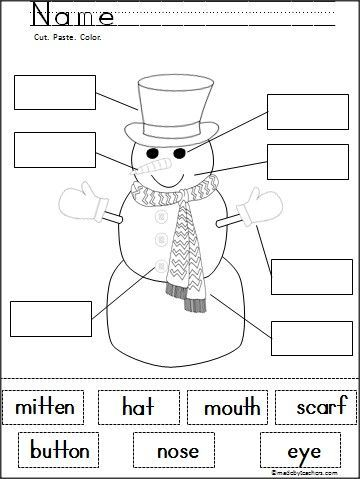 free snowman labeling cut and paste activity kinderland collaborative kindergarten reading. Black Bedroom Furniture Sets. Home Design Ideas