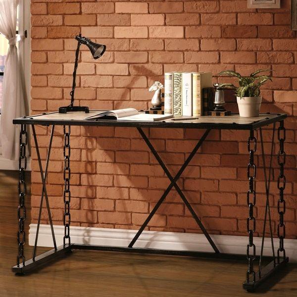 Acme Jodie Desk in Rustic Oak and Antique Black Finish 92248