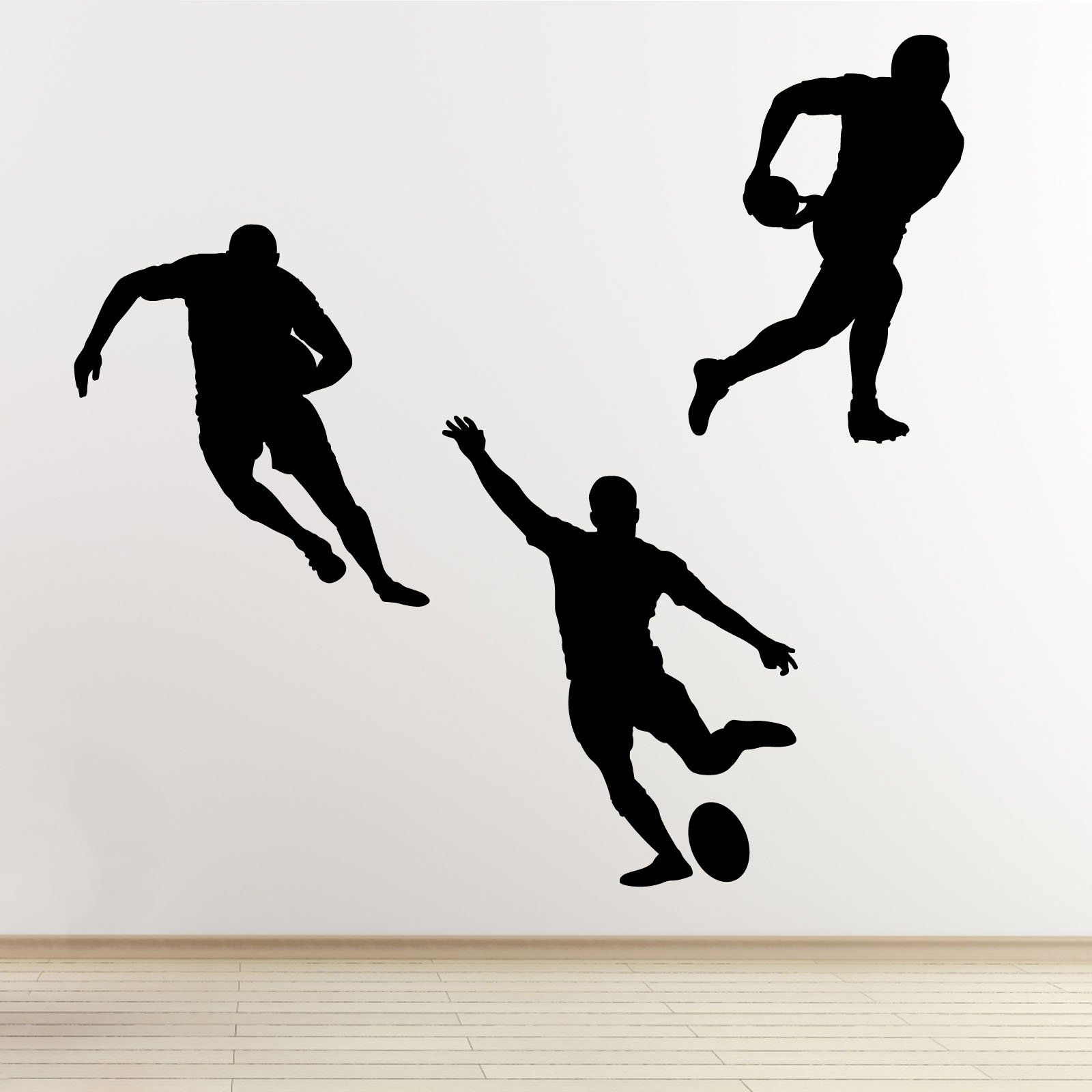 Rugby Player Wall Decals - 3 Pack Sports Outline ...
