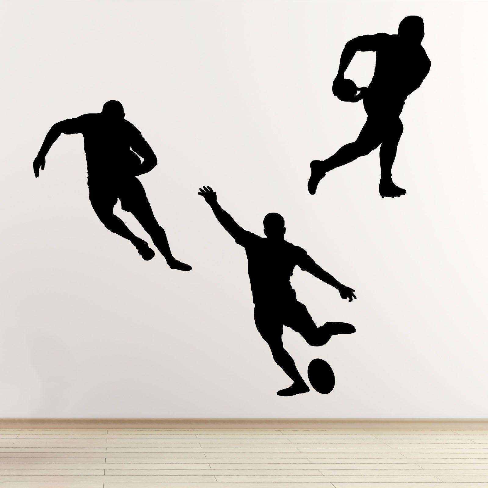Rugby acción Silueta Set pegatinas de pared
