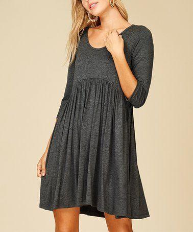 Look at this #zulilyfind! Gray Side-Pocket Empire-Waist Dress - Plus Too #zulilyfinds
