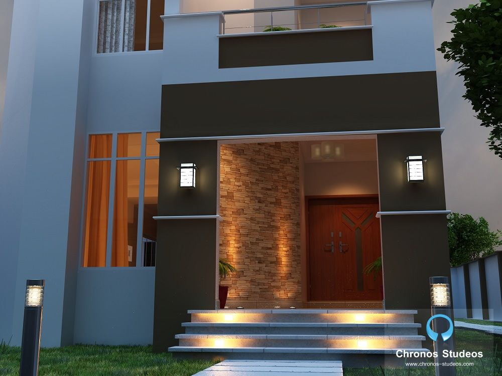 Work in progress - A 3D exterior rendering of a private residence in Lekki, Nigeria by Chronos Studeos. See more works and free CAD tips on www.chronos-studeos.com/blog