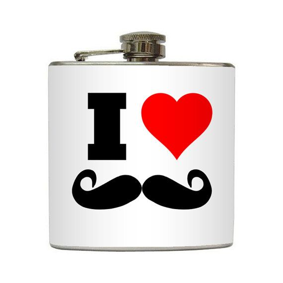 I Heart Mustaches Flask, pretty freaking awesome! | Party
