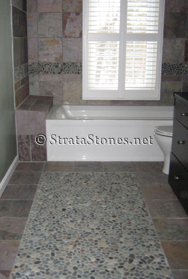 pebble tile floor bathroom - aralsa