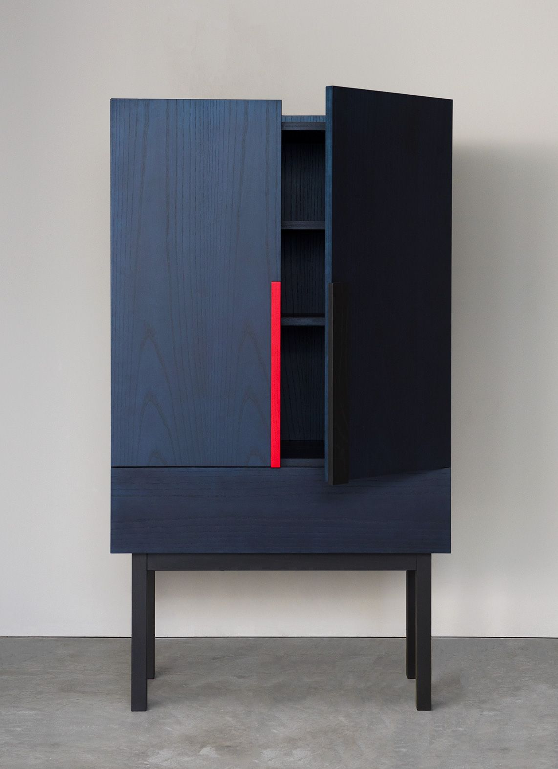 Aiizome storage cabinet by Zoe Mowat, painted using sumi ink, red dye and two shades of Japanese indigo