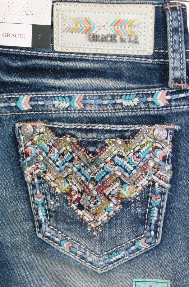Grace In LA Girls Embroidered Rhinestone Tween Boot Cut Jeans 0267