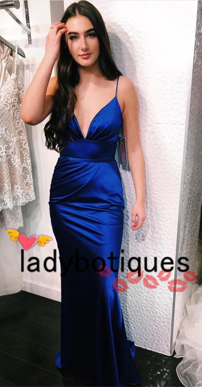 Elegant straps royal blue prom dress long from ladyboutiques in