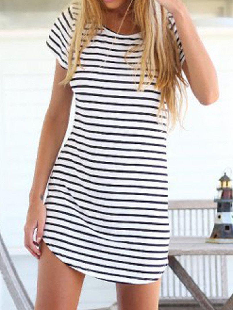 1661f1dd94a Elegant Short Sleeve Casual Jersey Mini Dress - Stripes Gender  Women  Waistline  Natural Fabric Type  Broadcloth Dresses Length  Above Knee