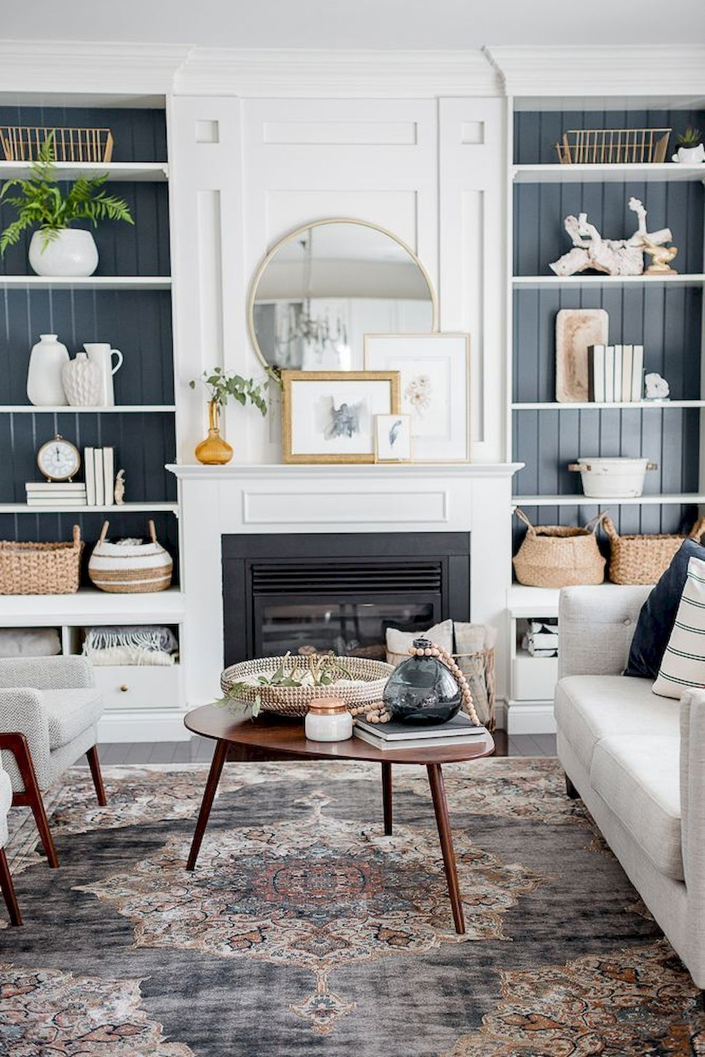 90 Cozy Farmhouse Living Room Rug Decor Ideas images