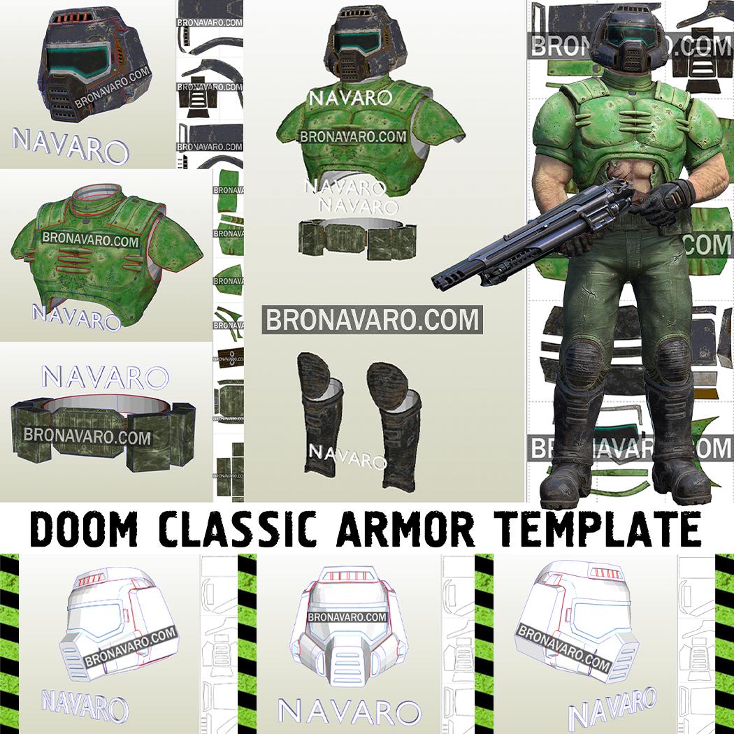 Doom Guy Classic Armor Template Doom Armor Pepakura Doomguy Cosplay Pattern Doom Guy Foam Template Doom Classic Doom Classic