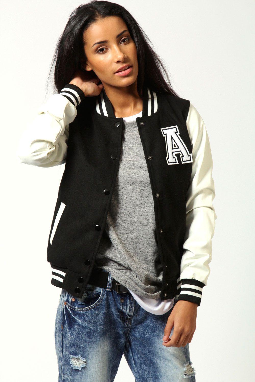 Emma Pu Sleeve Preppy Baseball Jacket Jacket Outfit Women Baseball Jacket Women Jackets For Women