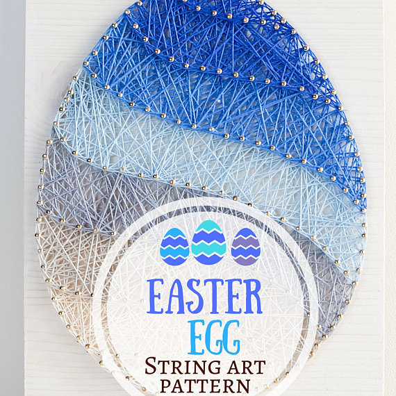 Easter Egg Ombre String Art Wall Decor Pattern Perfect Spring Time