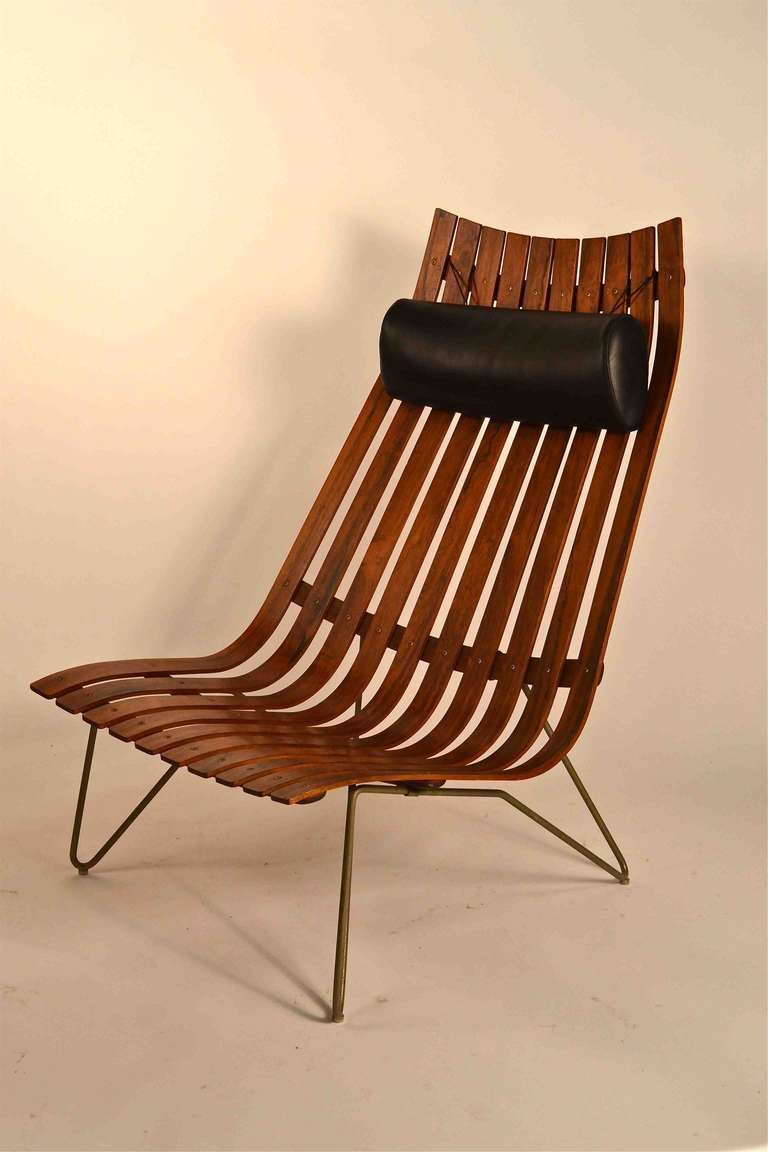 Rosewood slat lounge chair by hans battrud for scandia mid century