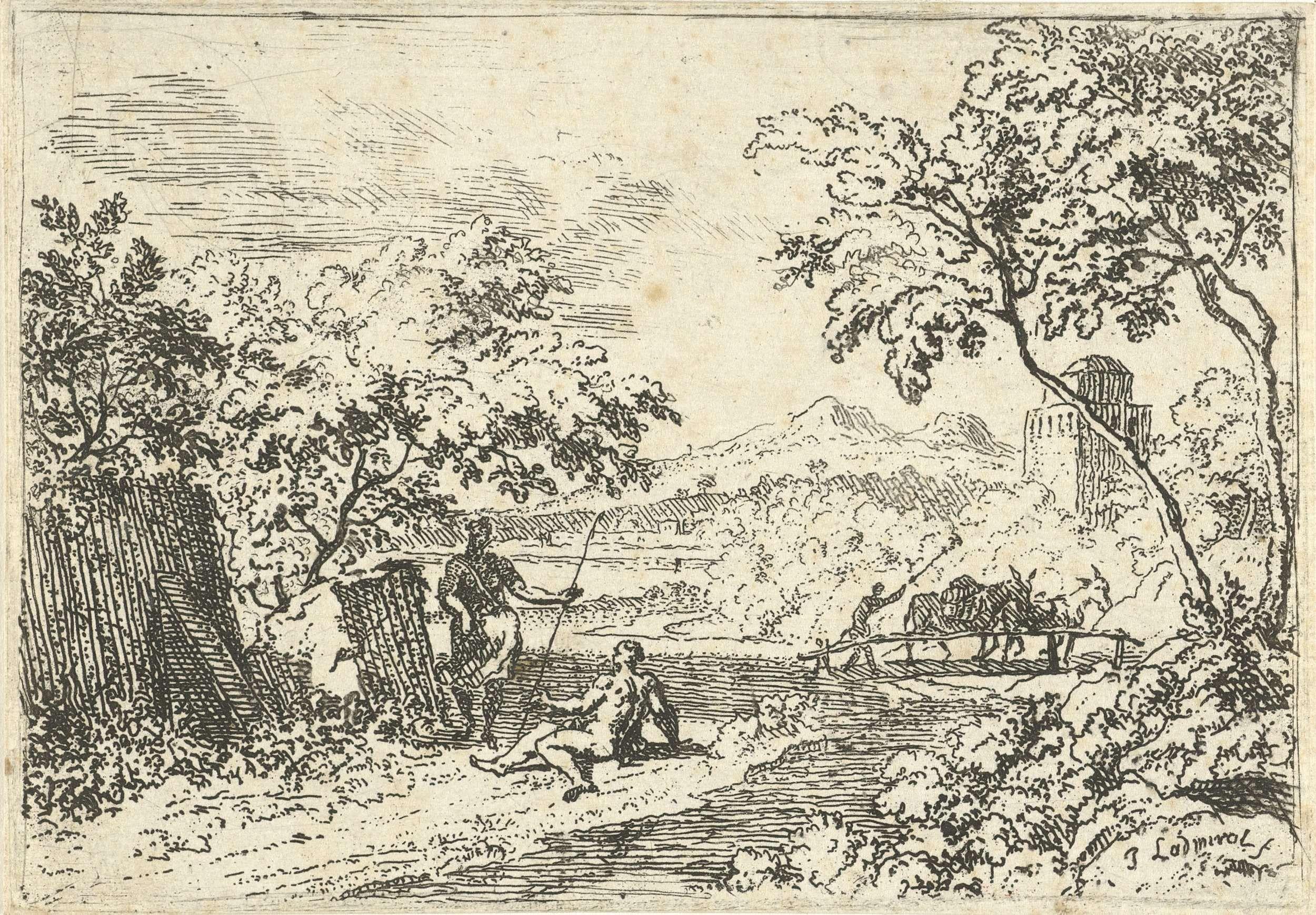 Jan l' Admiral | Arcadisch landschap met herders op een oever, Jan l' Admiral, 1709 - 1773 | Arcadisch landschap met op de voorgrond twee herders op een oever, in de verte loopt een figuur met twee ezels op een brug.