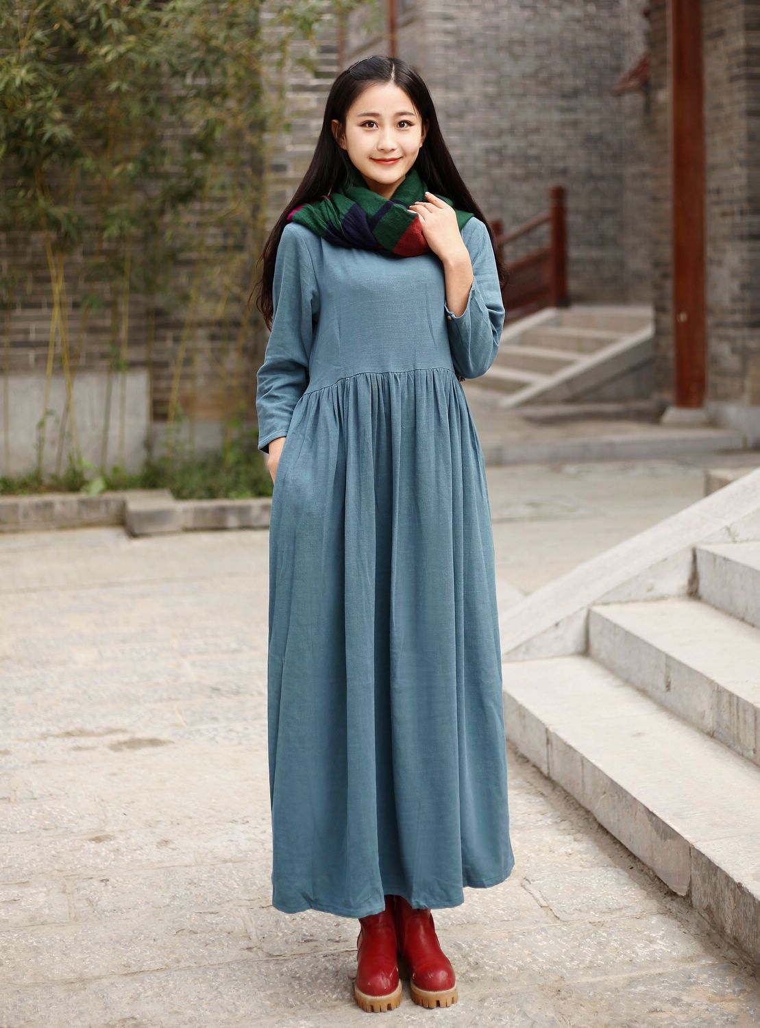 88b3e6c527 Linen dress Cotton Maxi dress Casual loose long dress Custom-made Plus size  dress Autumn Large size dress plus size clothing Winter Dresses by Luckywu  on ...