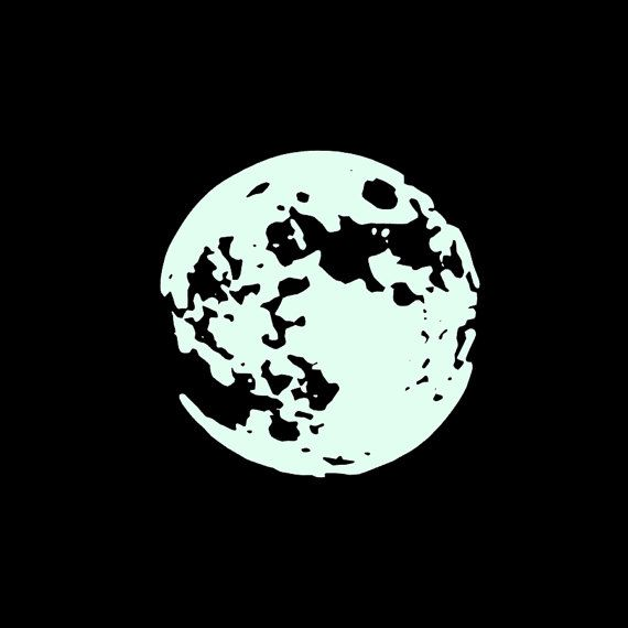 2ft Diameter Glow In The Dark Moon Wall Decal Home Decor