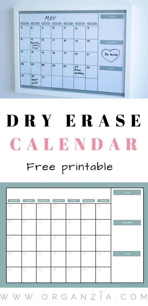 Diy Monthly Planner Dry Erase Calendar Free Printable Dry