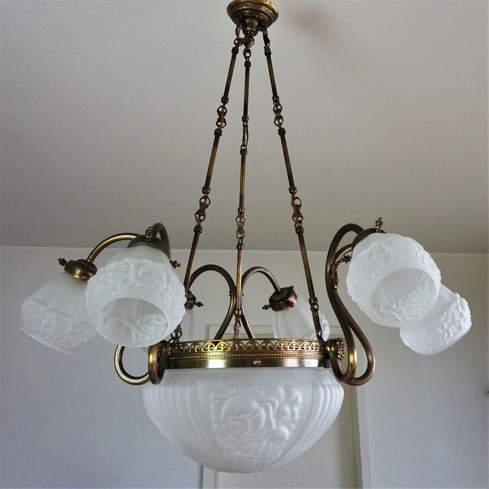 Jugendstil Deckenlampe details zu riesig! jugendstil deckenlampe 10-flammig kronleuchter