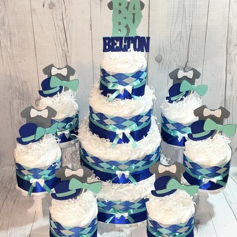 Little Gentleman Aqua and Royal Blue Baby Shower Diaper Cake Centerpiece Set
