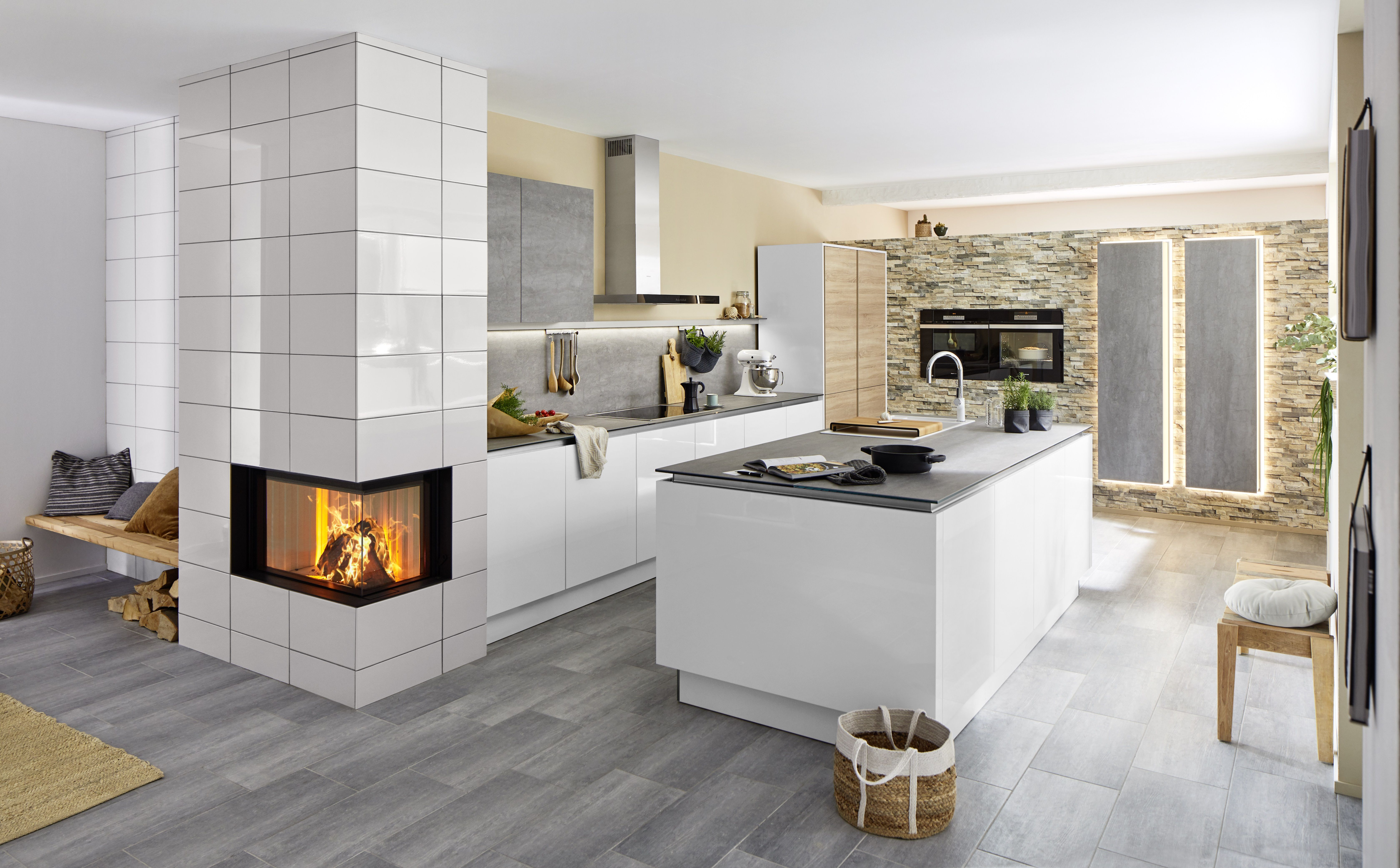 Störmer Küche Mixed Media Kitchen, Of Concrete, Brick, And Wood By Stormer. The Integrated Fireplace Really Completes The D… | Kücheninsel Mit Spüle, Küche Mit Insel, Kücheninsel