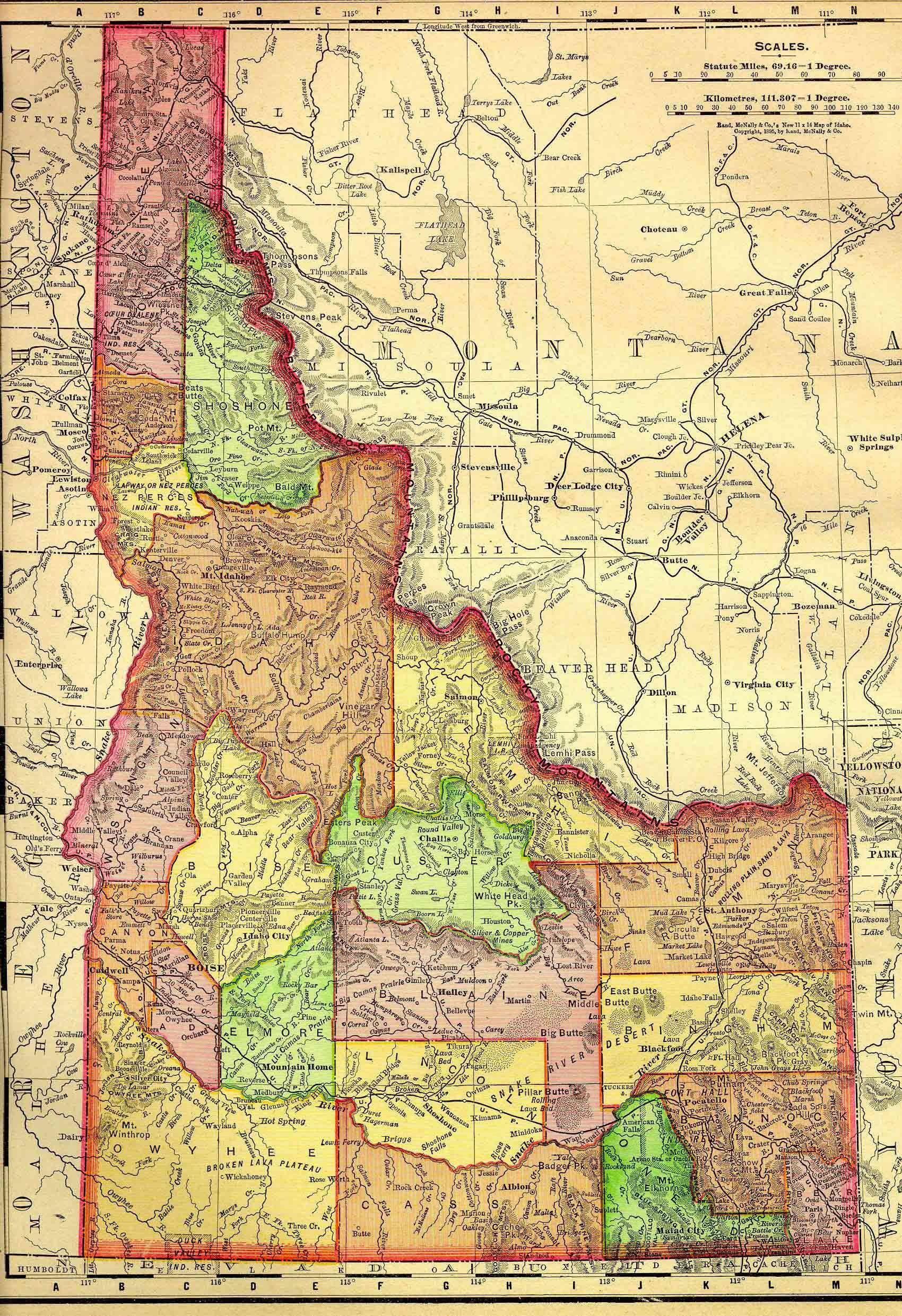 1895 Idaho State map | Idahome | Pinterest | Idaho and Pacific northwest