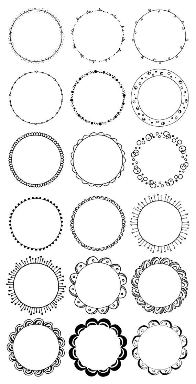 lot de 36 cadres ronds dessin u00e9s  u00e0 la main  clipart de cercles dessin u00e9s  u00e0 la main  fronti u00e8res de