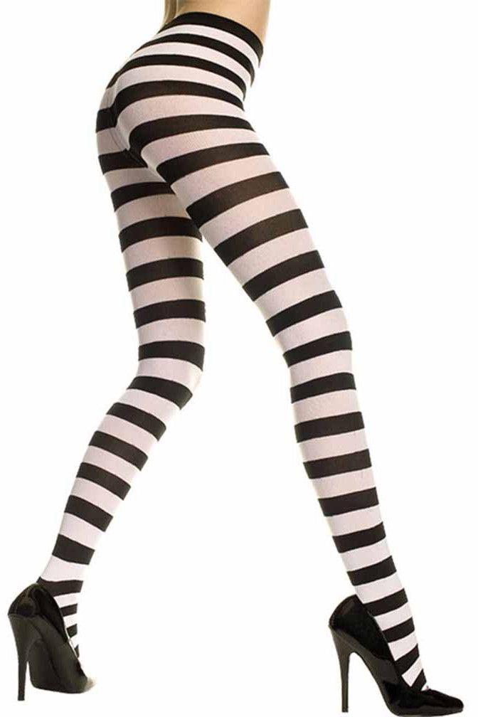 Black Purple Striped Tights Womens Halloween Costume Accessory OSFM NIP